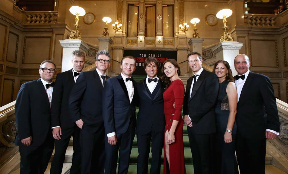 Tom Cruise and members of the cast and crew pose during the world premiere of 'Mission: Impossible - Rogue Nation' at the Opera House (Wiener Staatsoper) on July 23, 2015 in Vienna, Austria.  (Photo by Andreas Rentz/Getty Images for Paramount Pictures International)